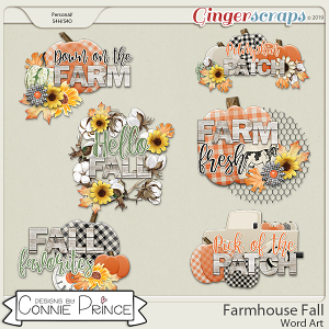 Farmhouse Fall - Word Art Pack by Connie Prince