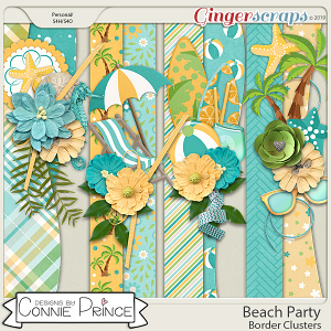 Beach Party - Border Clusters by Connie Prince