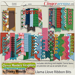 Llama Love Ribbon Bits by Clever Monkey Graphics