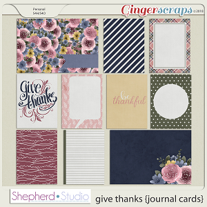 Give Thanks Journal Cards for Pocket Scrapbooking by Shepherd Studio