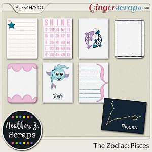 The Zodiac: Pisces JOURNAL CARDS by Heather Z Scraps