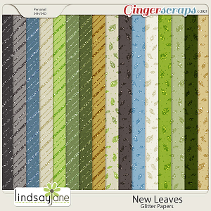 New Leaves Glitter Papers by Lindsay Jane