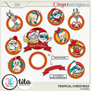 Tropical Christmas Stickers by JB Studio and Tita