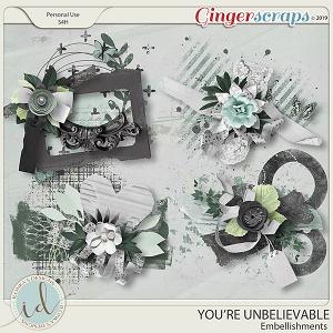 You're Unbelievable Embellishments by Ilonka's Designs