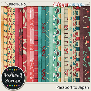 Passport to Japan PAPERS by Heather Z Scraps