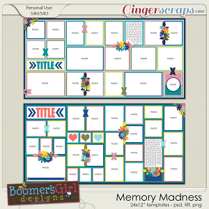Memory Madness Template Pack by BoomersGirl Designs