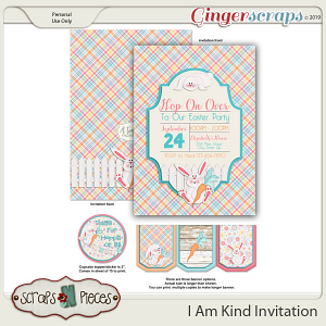 I Am Kind Hop On Over Easter Party Invitation by Scraps N Pieces