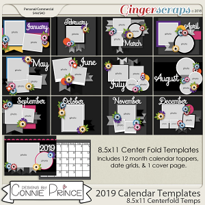 2019 Center Fold 8.5 x 11 Calendar Temps (CU Ok)