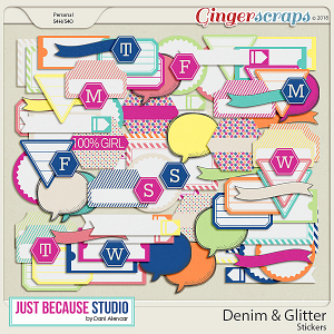 Denim & Glitter Stickers by JB Studio