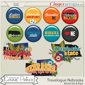 Travelogue Nebraska - Word Art & Flair Pack by Connie Prince
