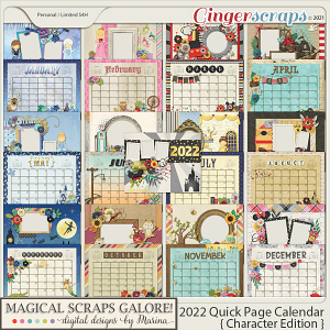 2022 Calendar Quick Pages (Character Edition)