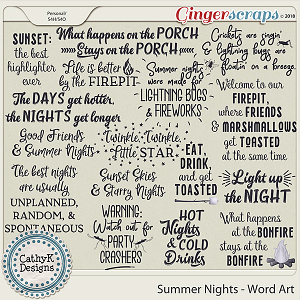 Summer Nights - Word Art by CathyK Designs