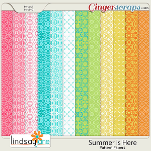 Summer is Here Pattern Papers by Lindsay Jane