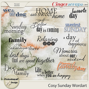 Cosy Sunday Wordart