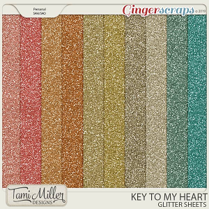 Key to my Heart Glitter Sheets by Tami Miller Designs