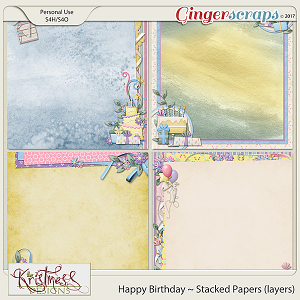 Happy Birthday Stacked Papers (layers)