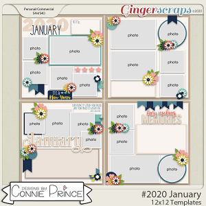 #2020 January - 12x12 Template Pack (CU Ok) by Connie Prince