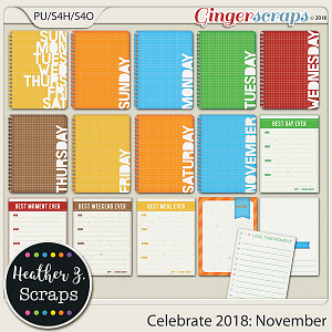 Celebrate 2018: November JOURNAL CARDS by Heather Z Scraps
