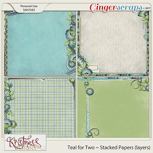 Teal for Two Stacked Papers (layers)