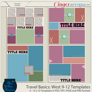 Travel Basics Album: West 9-12 Templates by Miss Fish