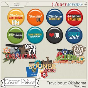 Travelogue Oklahoma - Word Art & Flair Pack by Connie Prince