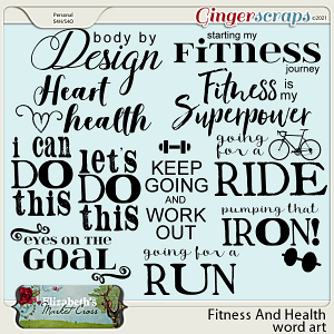 Fitness And Health Word Art