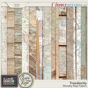 Travelocity Wooden Map Papers by Chere Kaye Designs and Aimee Harrison