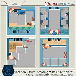 Vacation Album: Amazing Vistas 2 Templates by Miss Fish
