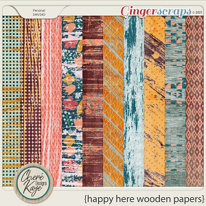 Happy Here Wooden Papers by Chere Kaye Designs