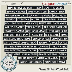 Game Night - Word Strips by CathyK Designs