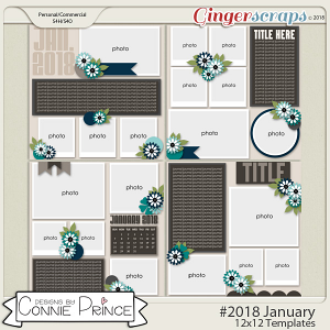 #2018 January - 12x12 Template Pack (CU Ok) by Connie Prince