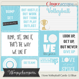 I Love Volleyball Cards- Light Blue