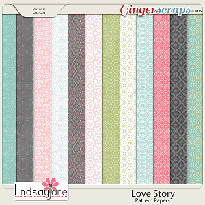 Love Story Pattern Papers by Lindsay Jane