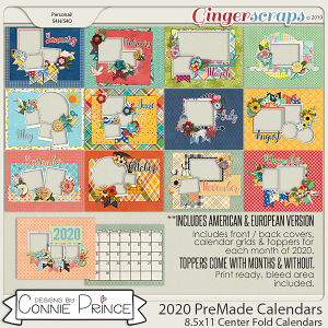 2020 8.5 x 11 PreMade Calendars by Connie Prince