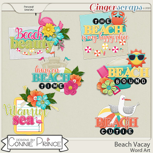 Beach Vacay - Word Art Pack by Connie Prince