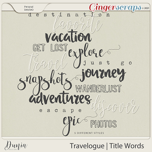 Travelogue Title Words by Dunia Designs