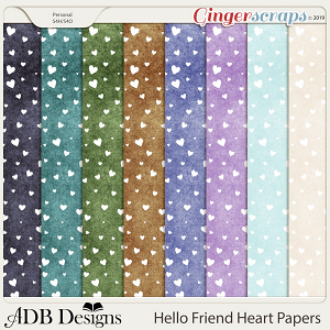 Hello Friend Heart Papers by ADB Designs