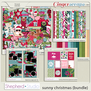 Sunny Christmas Digital Scrapbooking Bundle by Shepherd Studio