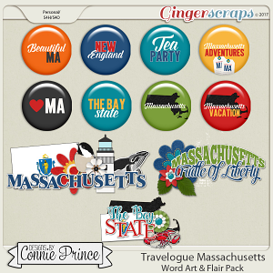 Travelogue Massachusetts - Word Art & Flair Pack
