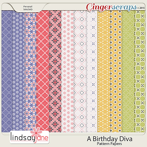 A Birthday Diva Pattern Papers by Lindsay Jane