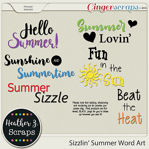 Sizzlin' Summer WORD ART 1 by Heather Z Scraps