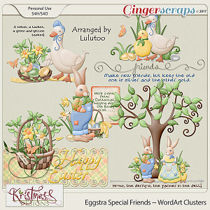 Eggstra Special Friends WordArt Clusters