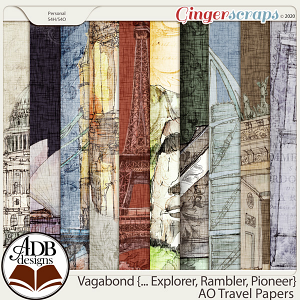 Vagabond, Explorer, Rambler, Pioneer AO Travel Papers by ADB Designs
