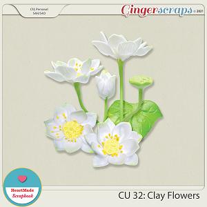 CU 32- Clay flowers - white lotus