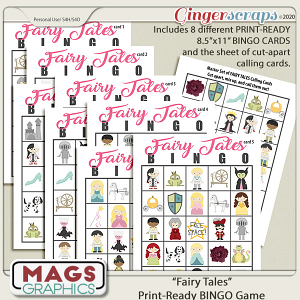 Fairy Tales BINGO Game by MagsGraphics
