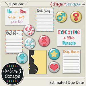 Estimated Due Date FLAIRS & JOURNAL CARDS by Heather Z Scraps
