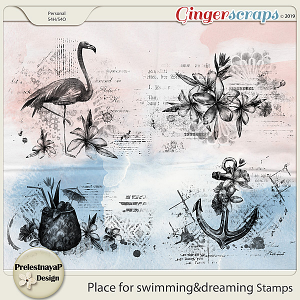 Place for swimming&dreaming Stamps