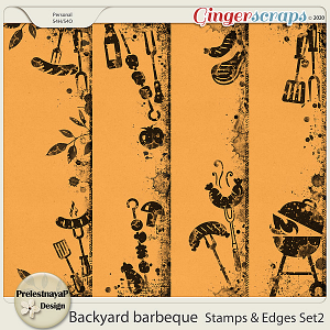 Backyard barbeque Stamps & Edges Set2