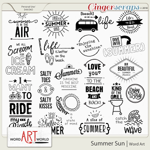 Summer Sun Word Art