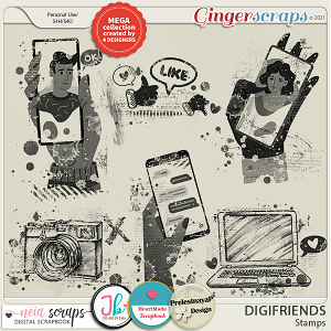 Digifriends - Stamps - Collab by Neia Scraps + 3